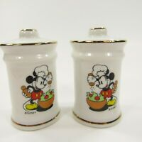 Vintage Salt Pepper Shakers Set Walt Disney Mickey Mouse Salad Japan      INV148