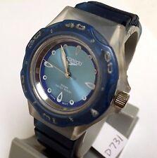 Vintage Speedo Men Lady Moving Bezel Blue Analog Quartz Watch Hours~New Battery