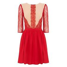 Oasis Women's Red  Adelina Lace Skater Dress 12