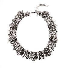 Luxus Halskette Ohrstecker Ethno statement Strass Kristall groß Obsidian schwarz
