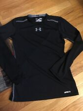 Yourh Large Fitted Under Armour Black Long Sleeve Heatgear UPF 50+