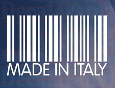 MADE IN ITALY Barcode Funny Car/Window/Bumper Italian EURO Vinyl Sticker/Decal