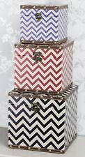Quality Set of 3 Chevron Zig Zag Red Black Blue Storage Boxes Box Organiser Tidy