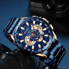 Luxus Herrenuhr Armbanduhr Edelstahl Schwarz Analog Quarz Uhr Chronograph NEU DE