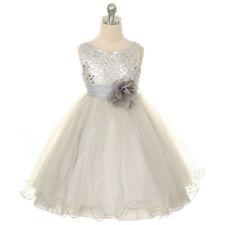 SILVER Flower Girl Dress Dance Party Wedding Formal Birthday Bridesmaid Recital
