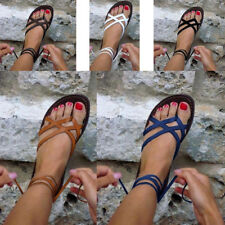 NEW Girls Women Gladiator Roman Shoes relax Flat Solid Strappy Cross-tie Sandals