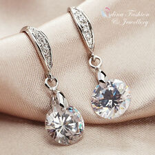 18K White Gold Plated Simulated Diamond Round Cut 4.0 Carat Dangle Earrings