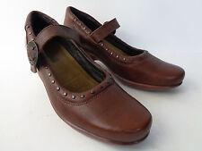 NAOT EUR 39 US 8M Brown Leather Mary Jane Platform Heel Shoe Brass Tacks ISRAEL