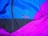 vintage 80`s FILA Nylon Jacke shiny sports jacket oldschool Trainingsjacke M