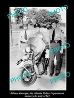 OLD POSTCARD SIZE PHOTO OF ATLANTA GEORGIA POLICE SQUAD MOTORCYCLE UNIT c1945