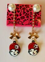 Betsey Johnson Crystal Rhinestone Enamel Pearl Ladies Post Earrings