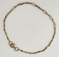"""Vintage Fully Hallmarked 9ct Yellow Gold Chain 375 Bracelet 8"""" ~ 1.90g  (D6D1)"""