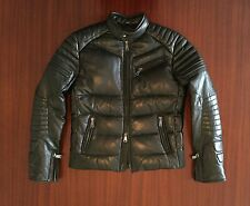 New Ralph Lauren RL Black Quilted Café Racer Leather Jacket Feather Down Men's M