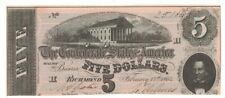 1864 Confederate States Csa $5 Dollar Civil War Currency Series 2 Note Hcf25184
