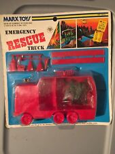 Vtg Marx Toys Emergency Rescue Truck playset on Card figures