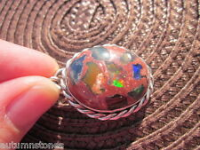 Vintage Sterling Genuine Mexican Black Opal 22x17 Mosaic Cantera Pendant Bright