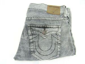 True Religion Jeans Ricky Sz 32x32 Grey Stone/Acid Wash Flap Pockets Lightweight