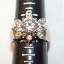 Beautiful Sterling Silver 925 Ladies CZ Rhinestone Cluster Ring