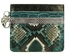 DIOR Crocodile & Python Skin LADY DIOR Logo Charm Card Holder Wallet