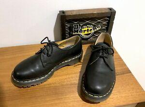 Vintage 1990s ENGLAND Dr Doc Martens 1A89 Black Pebble Leather Oxford Shoe UK 7