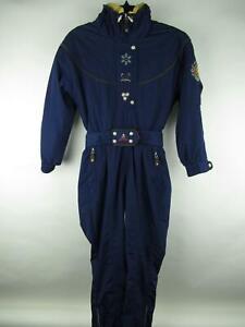 Obermeyer sz 12 VINTAGE Women Blue Thermolite Hooded Zip Up Anna Ski Snowsuit