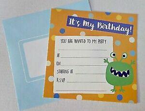 Monster Themed Birthday Invites- Pack of 16