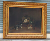 Top british artist E perretton (XIX) oil canvas kittens playing painting signed
