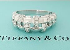 Tiffany & Co Vannerie 18K White Gold 0.36 ct Diamond Basket Weave Band Ring