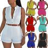 Women Slim Fit Deep V-neck Sleeveless Jumpsuit Summer Playsuit Shorts Romper US