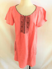 Subtle Luxury Embroidered Coral Peasant Boho Tunic Top Size M/L