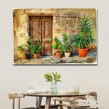 4 Styles Flower pot Landscape Greece Alley Building Canvas Painting Figure Oil P