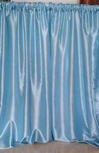 "Light Blue taffeta drapes, 57"" wide, non sheer, baby shower. Baptism. birthday"