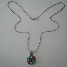 "Sterling 22"" Necklace w/Vintage SE Multicolor Stone Pendant - 7.02 Gr - #M187"