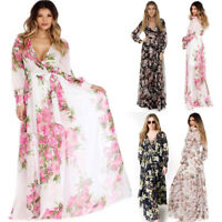 KQ_ Women Summer Long Sleeve Floral Print Cocktail Evening Party Maxi Dress Cand
