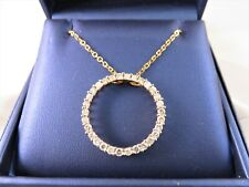 OUTSTANDING 10k Two Tone Gold 1.50ct Diamond Circle Pendant w Solid Gold Chain