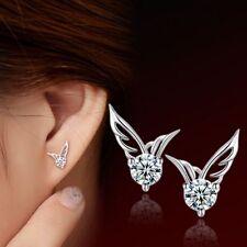 Women Jewellery 925 Sterling Silver Zircon Angel Wings Ear Stud Earrings