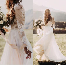 Bohemian Country Wedding Dress Sheer Long Sleeve A Line Lace Chiffon Bridal Gown