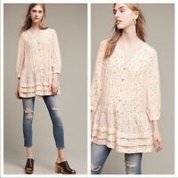 Anthropologie Maeve Size S Small Paccia Shape Ruffle Blouse Long Sleeve Womens