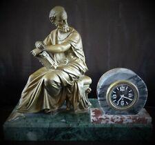 ancienne pendule en régule et marbre à  mouvement de réveil JAZ