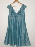 Kaliko Fit & Flare Sage Green Taffeta Rockabilly Evening Dress / Plus Size 18