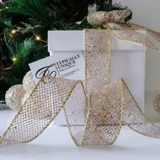 NEW CHRISTMAS RIBBON GOLD GLITTER MESH WIRE EDGED CRAFT GIFT WRAPPING 'STAR'