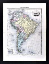1880 Migeon Map - South America - Brazil  Peru Argentina Chile Rio de Janeiro