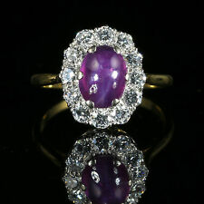 ANTIQUE VICTORIAN RUBY DIAMOND RING CABOCHON STAR RUBY