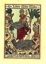 EX-LIBRIS d'Albin WEBER d'après un bois gravé de la chartreuse de Buxheim 1423.