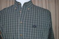 Bobby Jones Shirt - Long Sleeve Button Down - Men's L - Green Plaid 100% Cotton