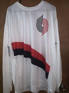 Nike NBA Blazers Size XXL Long Sleeve Warm Up Shooting Shirt White CI5513-100