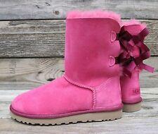 UGG Australia Womens Classic Short Bailey Bow Diva Pink Sheepskin Boots US 7 NEW