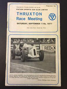THRUXTON 11th Sept 1971 Vintage Sports Car Club Race Meeting Official Programme