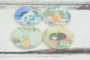 Vintage Hindostone Coaster Set Cat Coaster Set 4 Stone Cat Coasters Collectible