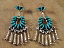 Mildred & Nelson Ukestine Zuni Sterling Silver & Turquoise Earrings